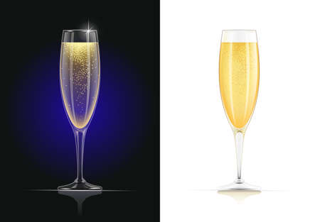 Champagne glass. Wines glassware in dark and white background. Drink list. Alcohol beverage. EPS10 vector illustration.