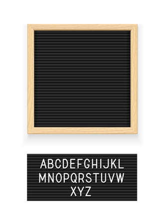 Black letter board. Letterboard for note. Plate for message. Office stationery. Isolated white background. EPS10 vector illustration. Çizim