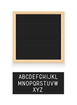 Tableau à lettres noir. Letterboard pour la note. Plaque pour message. Papeterie de bureau. Fond blanc isolé. Illustration vectorielle EPS10.