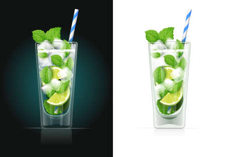 Mojito glass with pipe. Alcohol cocktail. Alcoholic classic drink with lime. Isolated white background. EPS10 vector illustration.