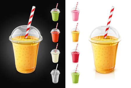 Set of plastic transparent cups with pipe for smoothie. Fresh drinks. Collection Mint, strawberry, tomato, orange smoothies. Mug of fruity organic shake. Fruit cocktail. Vegetarian Healthy food. Natural Product. Isolated white background. EPS10 vector illustration. Sweet dessert Stockfoto - 111930735