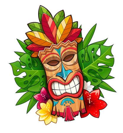 Máscara de madera tribal Tiki. Carácter tradicional hawaiano. Símbolo de la barra de Hawaii. Escultura de dibujos animados de tradición Fondo blanco aislado. Ilustración de vector Eps10.