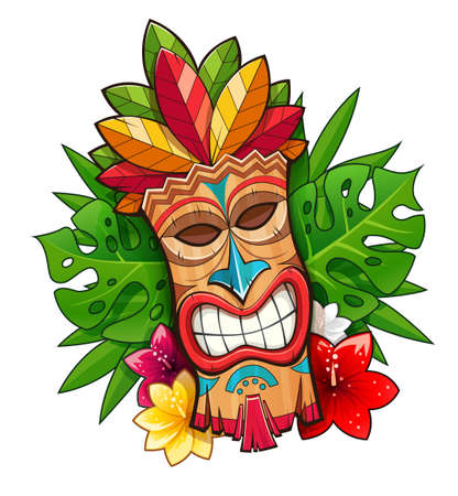 Tiki tribal wooden mask. Hawaiian traditional character. Hawaii bar symbol. Tradition cartoon sculpture Isolated white background. EPS10 vector illustration.