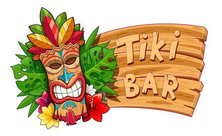 Tiki-Stammes-Holzmaske. Hawaiianischer traditioneller Charakter. Hawaii-Bar-Symbol. Traditionskarikaturskulptur. Holzbanner. Isolierter weißer Hintergrund. EPS10-Vektor-Illustration. Vektorgrafik
