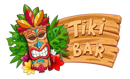 Tiki tribal wooden mask. Hawaiian traditional character. Hawaii bar symbol. Tradition cartoon sculpture. Wooden banner. Isolated white background. EPS10 vector illustration. Stock Vector - 111870321