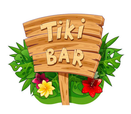 Tiki bar wooden banner. Hawaiian traditional art. Hawaii symbol. Isolated white background. EPS10 vector illustration.