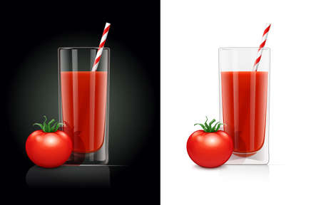 Fresh tomato juice glass with pipe. Natural organic drink. Isolated white background. EPS10 vector illustration. Иллюстрация