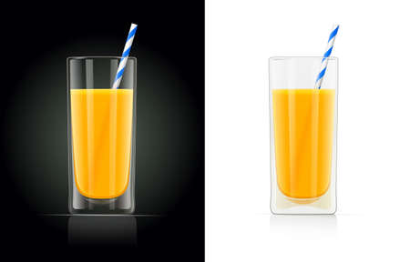 Fresh orange juice glass with pipe. Natural organic drink. Isolated white background. EPS10 vector illustration.