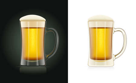 Beer glass. Brewery cup. Octoberfest holiday drink. Festival mug. Realistic Pub utensils. Isolated white background. EPS10 vector illustration. Stock Vector - 111512729