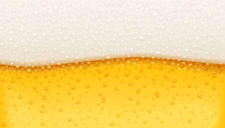 Cerveza con espuma de burbujas. Patrón de cervecería. Bebida navideña de Octoberfest. Fondo blanco aislado. Ilustración de vector Eps10.