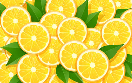 Orange and leaf. Citrus pattern. Tropical fruit background. Organic natural fruity food. Vegetarian healthy eating design. EPS10 vector illustration.