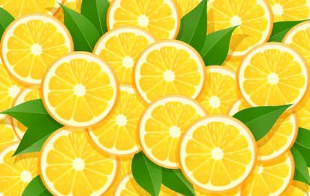 Orange and leaf. Citrus pattern. Tropical fruit background. Organic natural fruity food. Vegetarian healthy eating design. EPS10 vector illustration.