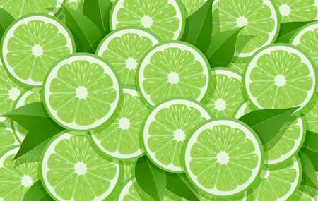 Limette und Blatt. Zitrus-Muster. Hintergrund der tropischen Früchte. Bio-natürliches fruchtiges Essen. Vegetarisches Design für gesunde Ernährung. EPS10-Vektor-Illustration.
