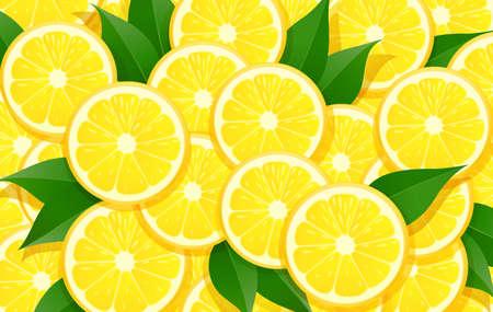 Zitrone und Blatt. Zitrus-Muster. Hintergrund der tropischen Früchte. Bio-natürliches fruchtiges Essen. Vegetarisches Design für gesunde Ernährung. EPS10-Vektor-Illustration. Vektorgrafik