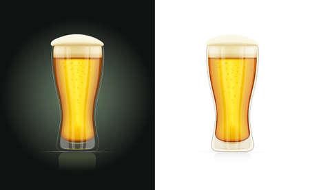 Verre de bière. Coupe de la brasserie. Boisson de vacances d'octobre. Tasse de fête. Ustensiles de pub réalistes. Fond blanc isolé. Illustration vectorielle EPS10.