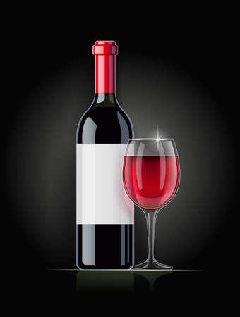 Red Wine bottle and wineglass. Concept design for wines menu on dark background. Drink card. Bottled alcohol beverage. EPS10 vector illustration.
