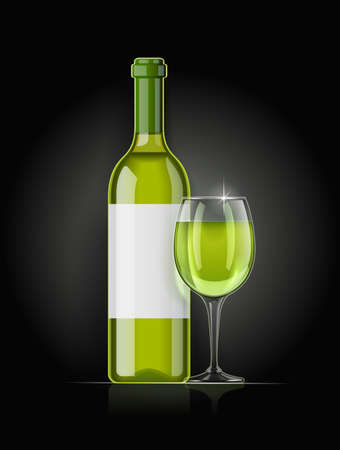 White wine bottle and wineglass. Concept design for wines menu on dark background. Drink card. Bottled alcohol beverage. EPS10 vector illustration.