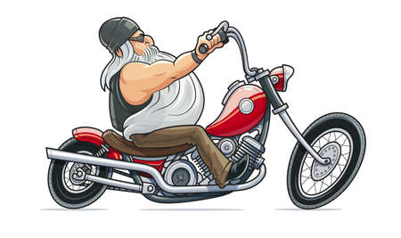 Biker ride at motorcycle. Cartoon character. Man drive bike. Driver at retro motorbike. Sport hobby. Vintage chopper. Speed transport. Isolated white background. EPS10 vector illustration.