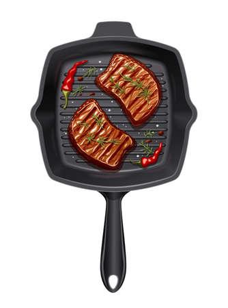 Zwei Stück Fleisch in der Grillpfanne braten. Grillutensilien für Braten. Grill kochen. Braten Sie Grill-Picknick-Küchengeschirr. Realistische Steakscheibe. Isolierter weißer Hintergrund. EPS10 Vektorillustration.