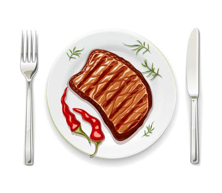 Meat steak at plate with fork and spoon. Realistic grilled meal. Cook beef steaks. Grill food. Concept for serving roasted pork. Isolated white background. EPS10 vector illustration.