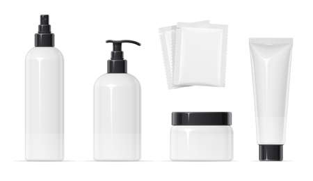 Set of Plastic container for cream spray, balm and shampoo Make-up, body, skin cosmetics bottle, tube, can. Beauty cosmetology. Mock-up for spa. Isolated white background. EPS10 vector illustration.