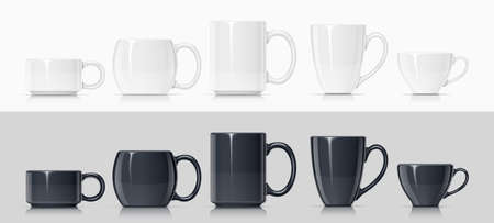 Keramische mok voor thee, koffie en warme drank. Set van witte en zwarte beker voor drankje. Mock-up klassieke porseleinen gebruiksvoorwerpen. Eps10 vectorillustratie.