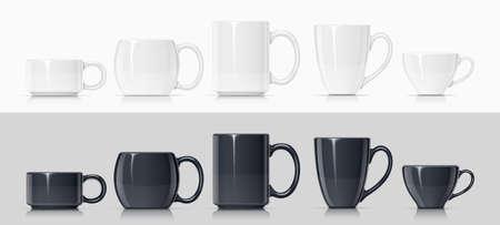 Taza de cerámica para té, café y bebida caliente. Juego de taza blanca y negra para beber. Maqueta de utensilios de porcelana clásica. Ilustración de vector Eps10.