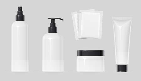 Set of Plastic container for cream spray, balm and shampoo Make-up, body, skin cosmetics bottle, tube, can. Beauty cosmetology. Mock-up for spa. EPS10 vector illustration. Stock Illustratie