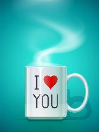 Ceramic teacup. White mug for drink on blue background with inscription I love you. Classic porcelain utensils. EPS10 vector illustration. Archivio Fotografico - 127646746