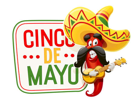 Character for Cinco de Mayo celebration. Red pepper jalapeno in suit mariachi with guitar and sombrero. Mexicano guitarist ethnic play music for national Mexico holiday. Isolated white background. EPS10 vector illustration. 免版税图像 - 127646747