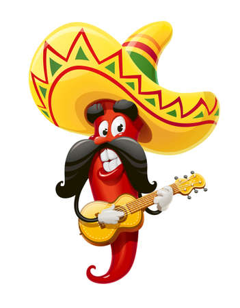 Character for Cinco de Mayo celebration. Red pepper jalapeno in suit mariachi with guitar and sombrero. Mexicano guitarist ethnic play music for national Mexico holiday. Isolated white background. EPS10 vector illustration.