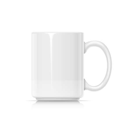 Ceramic cup for tea, coffee and hot beverage. White mug for drink. Mock-up classic porcelain utensils. EPS10 vector illustration.