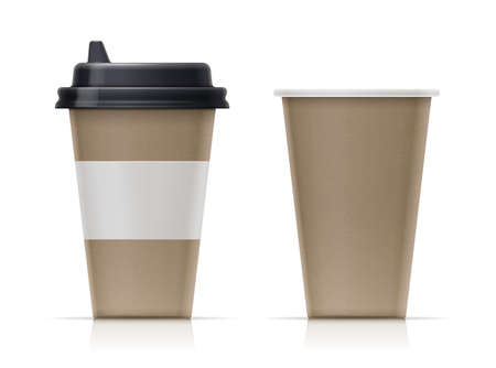 Paper cup for fast-food drink. Eco mug for tea, coffee, water. Collection realistic trendy utensils for coffeeshop. Set of Recycling cardboard container. Tableware mock-up. Isolated white background. EPS10 vector illustration.