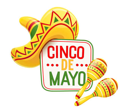 Sombrero and maracas for Cinco de Mayo celebration. Mexicano ethnic symbols for national Mexico holiday. Isolated white background. EPS10 vector illustration.