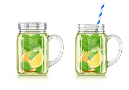 Refreshing lemon, orange, peppermint and cucumber detox water. Mug with for aqua cocktail. Healthy food. Vegetarian diet beverage. EPS10 vector illustration.