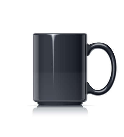 Ceramic cup for tea, coffee and hot beverage. Black mug for drink. Mock-up classic porcelain utensils. EPS10 vector illustration.