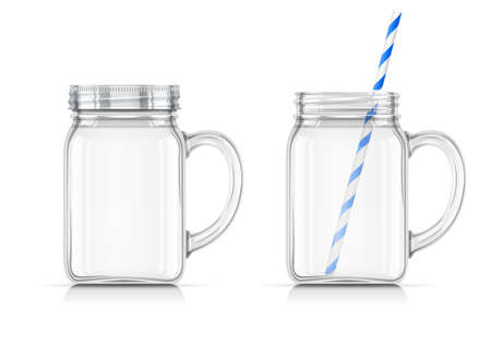 Jar for detox water. Glass Cup for aqua cocktail. EPS10 vector illustration. Archivio Fotografico - 127400763