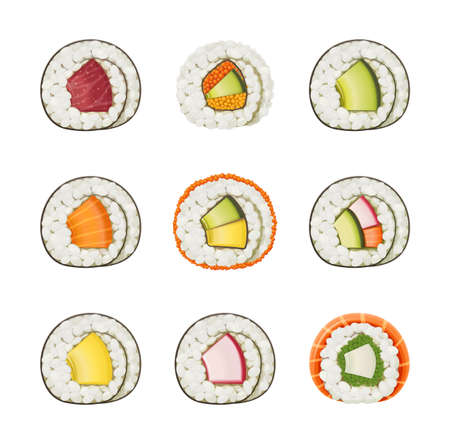 Set sushi rolls with various ingredient. Fast-food collection. Traditional japanese healthy food with rice, cucumber, avocado, fish, meat. Japan snack asian eating. For Isolated white background. EPS10 vector illustration. Illustration