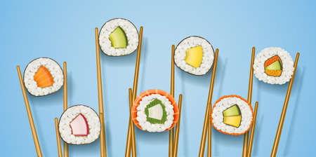 Set sushi rolls with various ingredient. Fast-food collection. Traditional japanese healthy food with rice, cucumber, avocado, fish, meat. Japan snack asian eating. On Blue background. EPS10 vector illustration.