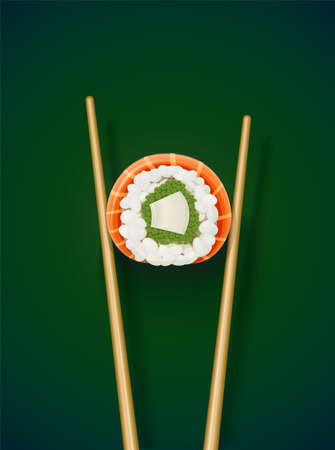 Sushi rolls with chopstick. Fast-food collection. Traditional japanese healthy food with rice, cucumber, avocado, fish, meat. Japan snack asian eating. On green background. EPS10 vector illustration.