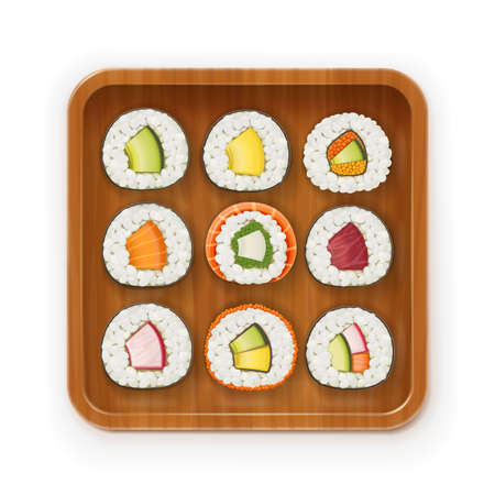 Set sushi rolls with various ingredient on wooden tray. Fast-food collection. Traditional japanese healthy food with rice, cucumber, avocado, fish, meat. Japan snack asian eating. Isolated white background. EPS10 vector illustration. Illustration