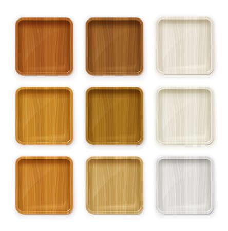 Placez la plaque en bois pour les sushis et autres aliments. Ustensile tendance. Ustensiles de cuisine traditionnels japonais. Vaisselle pour restauration rapide. Fond blanc isolé. Plateau de service de décoration élégante. Illustration vectorielle EPS10.