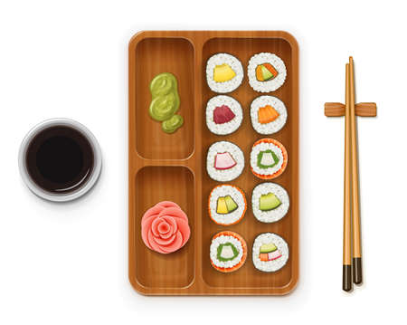 Set sushi rolls with various ingredient on wooden tray. Fast-food collection. Traditional japanese healthy food with rice, cucumber, avocado, fish, meat. Japan snack asian eating. Isolated white background. EPS10 vector illustration.