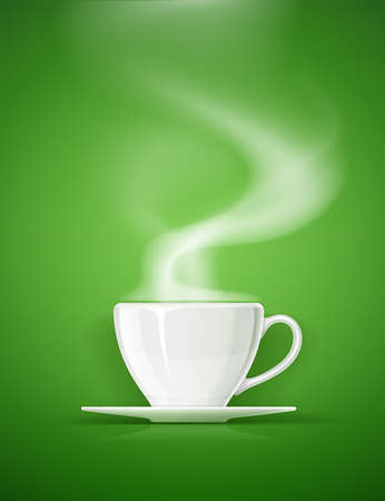 Ceramic cup for tea, coffee and drink. White mug for beverage on green background with steam. Classic porcelain utensils. EPS10 vector illustration.
