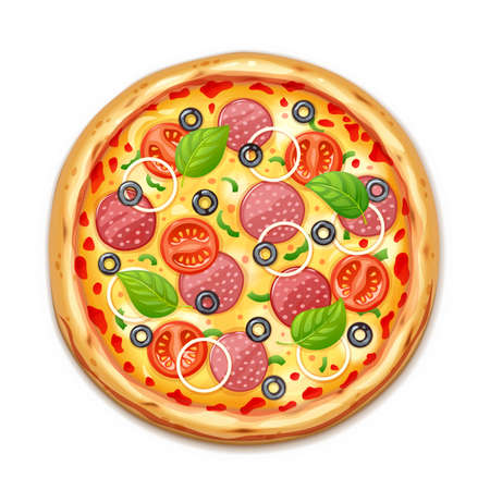 Fresh pizza with tomato, cheese, olive, sausage, onion, basil. Traditional italian fast food. Top view meal. European snack. Isolated white background. Illustration