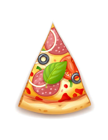 Fresh pizza with tomato, cheese, olive, sausage, onion, basil. Traditional italian fast food. Top view meal. European snack. Isolated white background. EPS10 vector illustration.