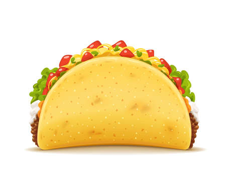Tacos with meat and vegetable. Traditional mexican fast-food. Taco Mexico food with tortilla, leaves lettuce, cheese, tomato, forcemeat, sauce. Isolated white background. EPS10 vector illustration.