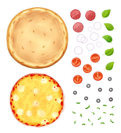 Fresh pizza with tomato, cheese, olive, sausage, onion, basil. Traditional italian fast food. Top view meal. European snack. Isolated white background. EPS10 vector illustration. 免版税图像 - 126933852