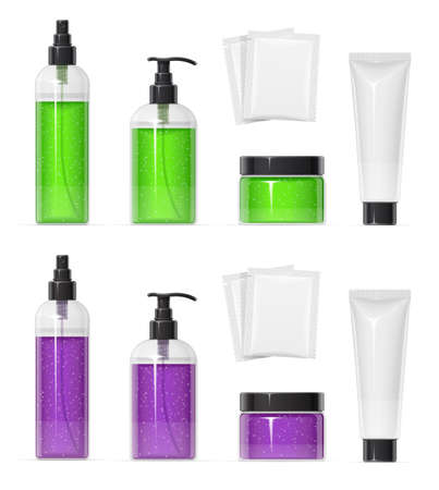 Set of Plastic container for cream spray, gel and shampoo Make-up, body, skin cosmetics bottle, tube, can. Beauty cosmetology. Mock-up for spa. Isolated white background. EPS10 vector illustration.