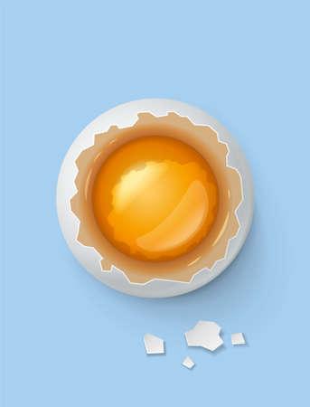 Gebroken ei met dooier en shell. Product voor het koken van ontbijt. Biologisch voedsel. Bovenaanzicht realistische rauwe natuurlijke levensmiddelen op blauwe achtergrond.